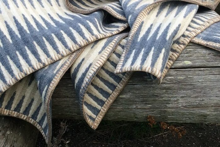 Accent Throw Graphic Pattern in Gray Tones on Wooden Plank
