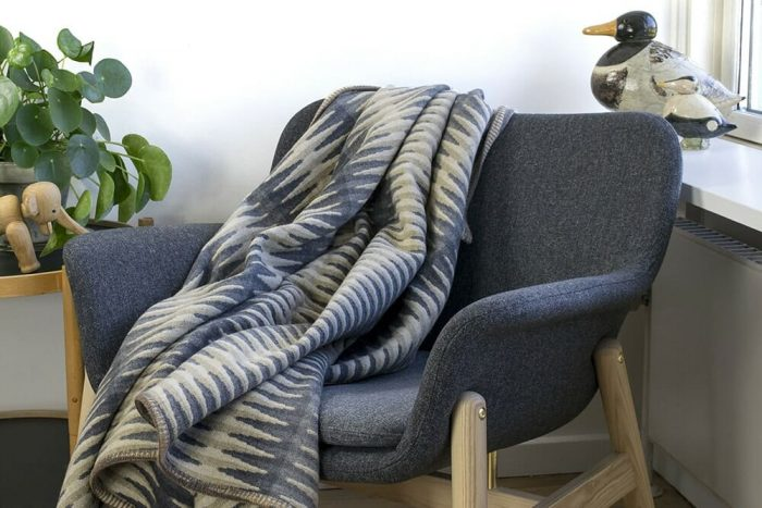 Accent Throw Graphic Pattern in Gray Tones in Chair