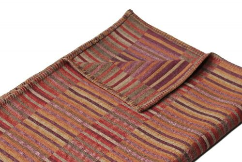 Accent Throw Warm Red Corn Yellow and Deep Plum Detail