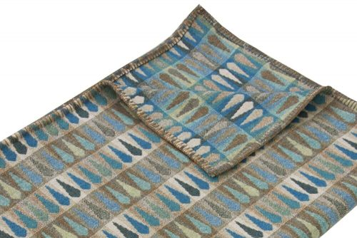 Cosy Blanket in dazzling cerulean blue, turquoise and tan Detail