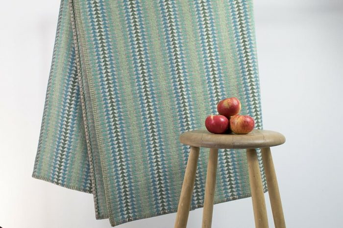 Cozy Throw in Bright and Happy Turquoise with Apples