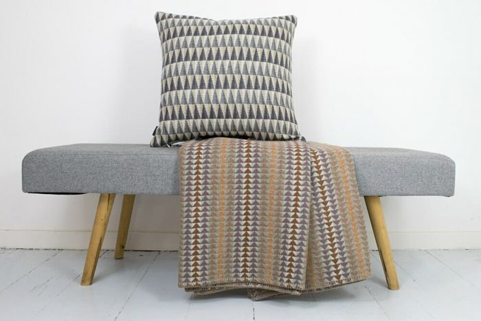 Cozy Throw in Soft and Sweet Plum and Orange With Pillow