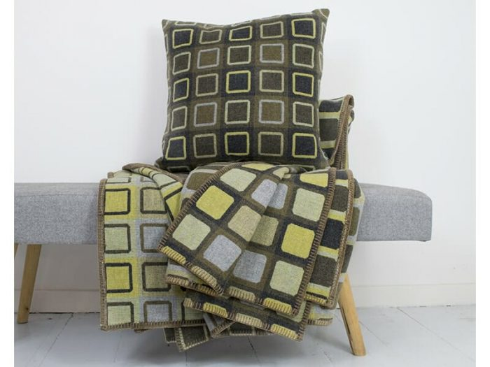 Modern Throw Blanket in Green Lime and Powder Blue With Cushion