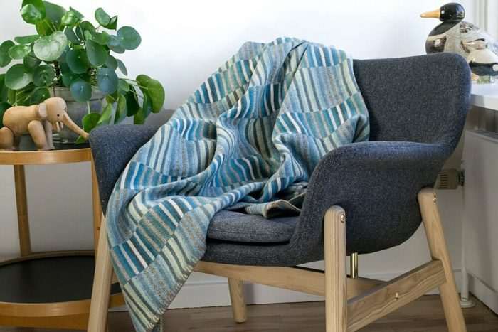 Turquoise_Blue Wool Throw in Chair