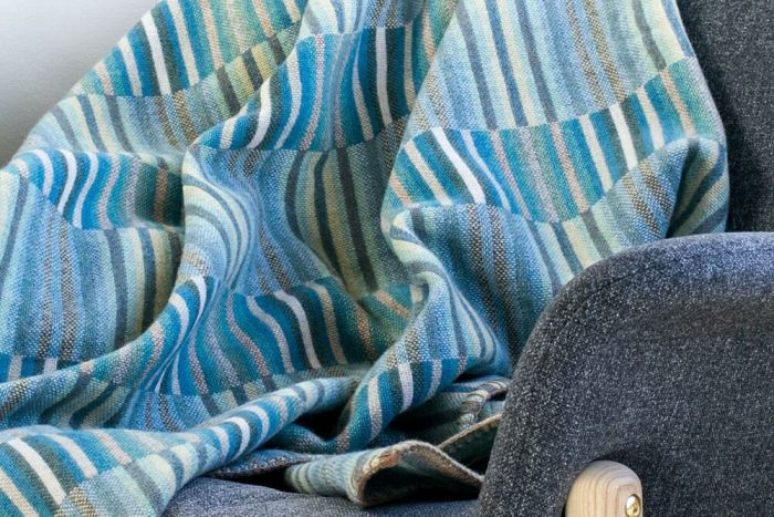 Turquoise_Blue Wool Throw Chair Close Up