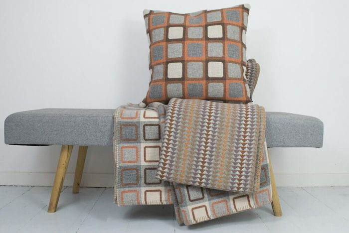 Reversible Wool Throw in soft oranges with Jig Throw