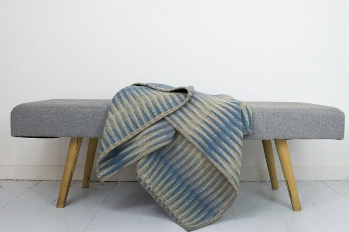 Stylish Throw in Blue Lime and Gold on Bench