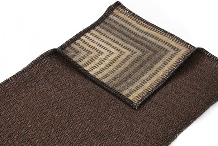 Throw Blanket Natural Brown and Golden Details