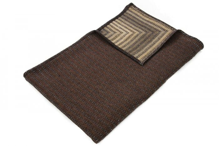 Throw Blanket Natural Brown and Golden Details Top
