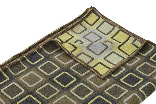 Wool Throw Geometric Design Green Lime and Blue Detail