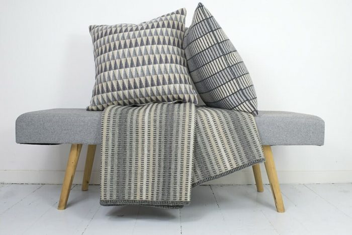 Wool Throw Nature Colors with Jig and Groove Cushions